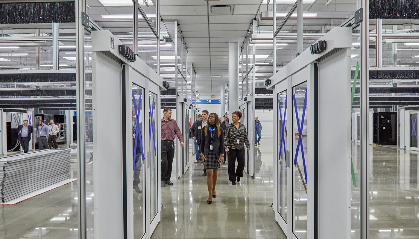 More than 50 guests gathered to celebrate the opening of the data center and take a tour of the site.