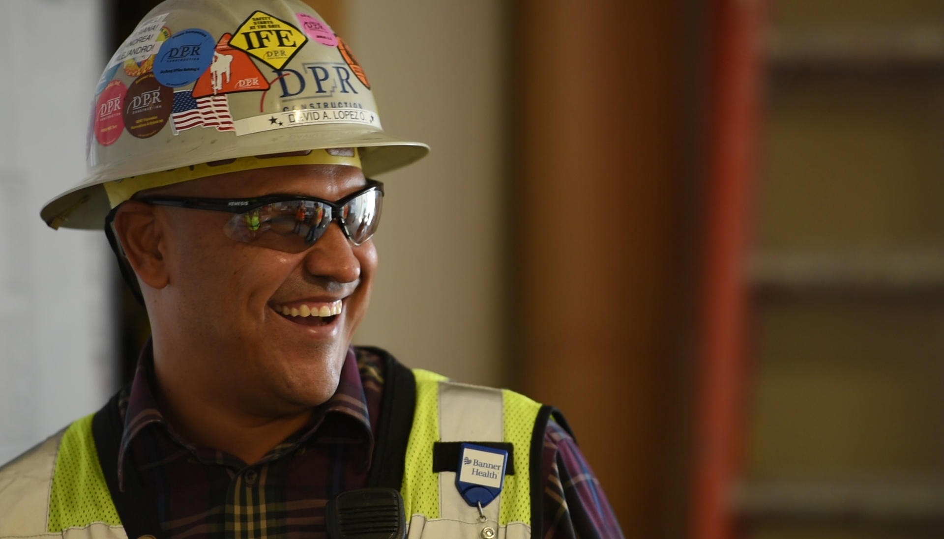 David Lopez laughing on his job site.