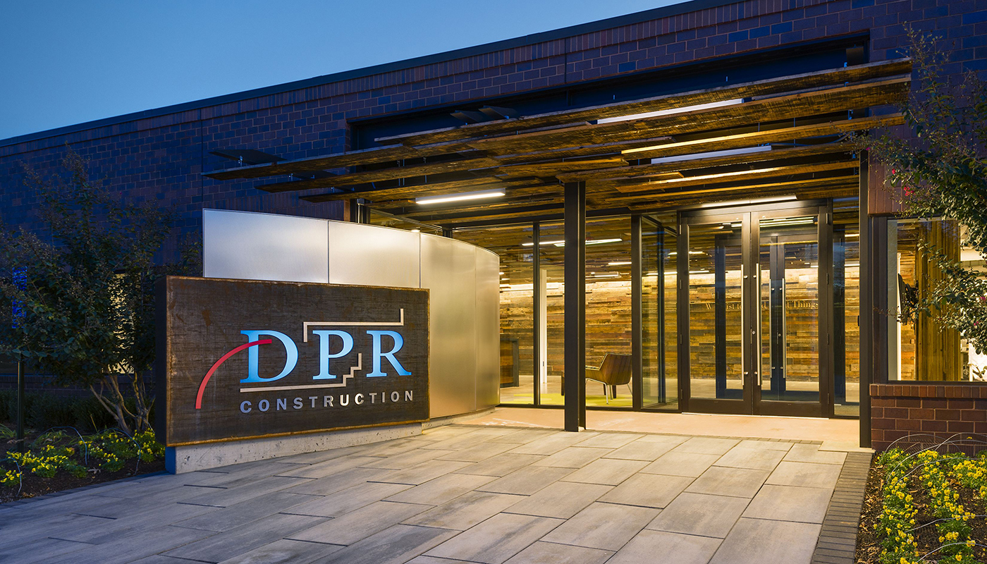 The entrance to DPR Construction's office in Reston, Virginia.