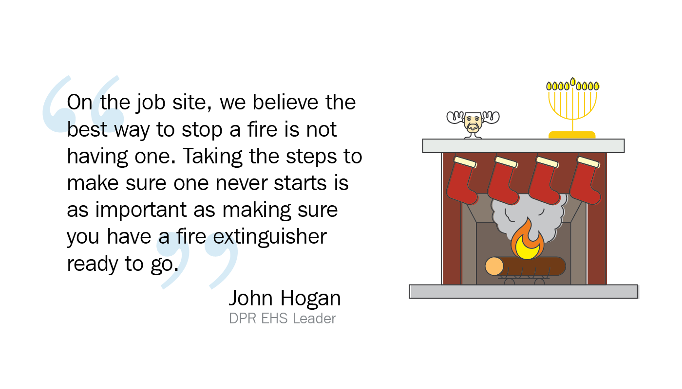 Graphic of a lit fireplace with decorations and a John Hogan quote from the blog.