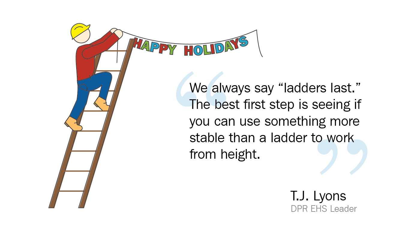 Graphic of a person decorating on a ladder with a quote from TJ Lyons from the blog post.