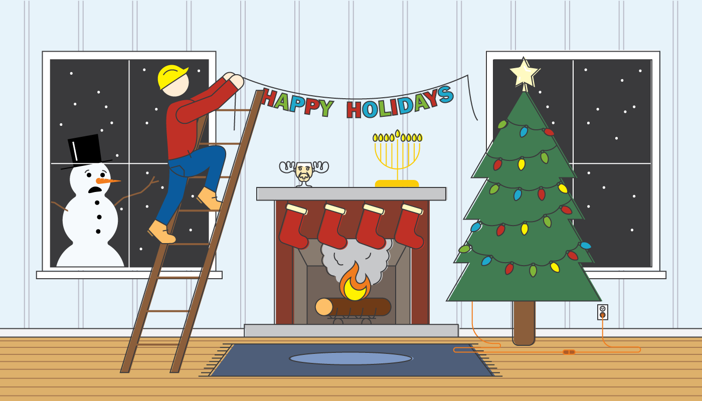 A graphic of a person on a ladder decorating for the holidays over their lit fireplace as a snowman looks in from a window.