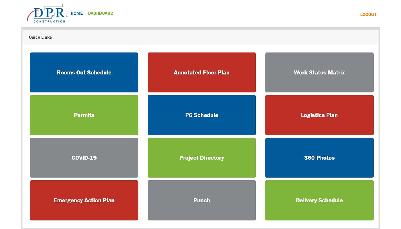 DPR's schedule dashboard is used to closely track the progress of each guestroom.