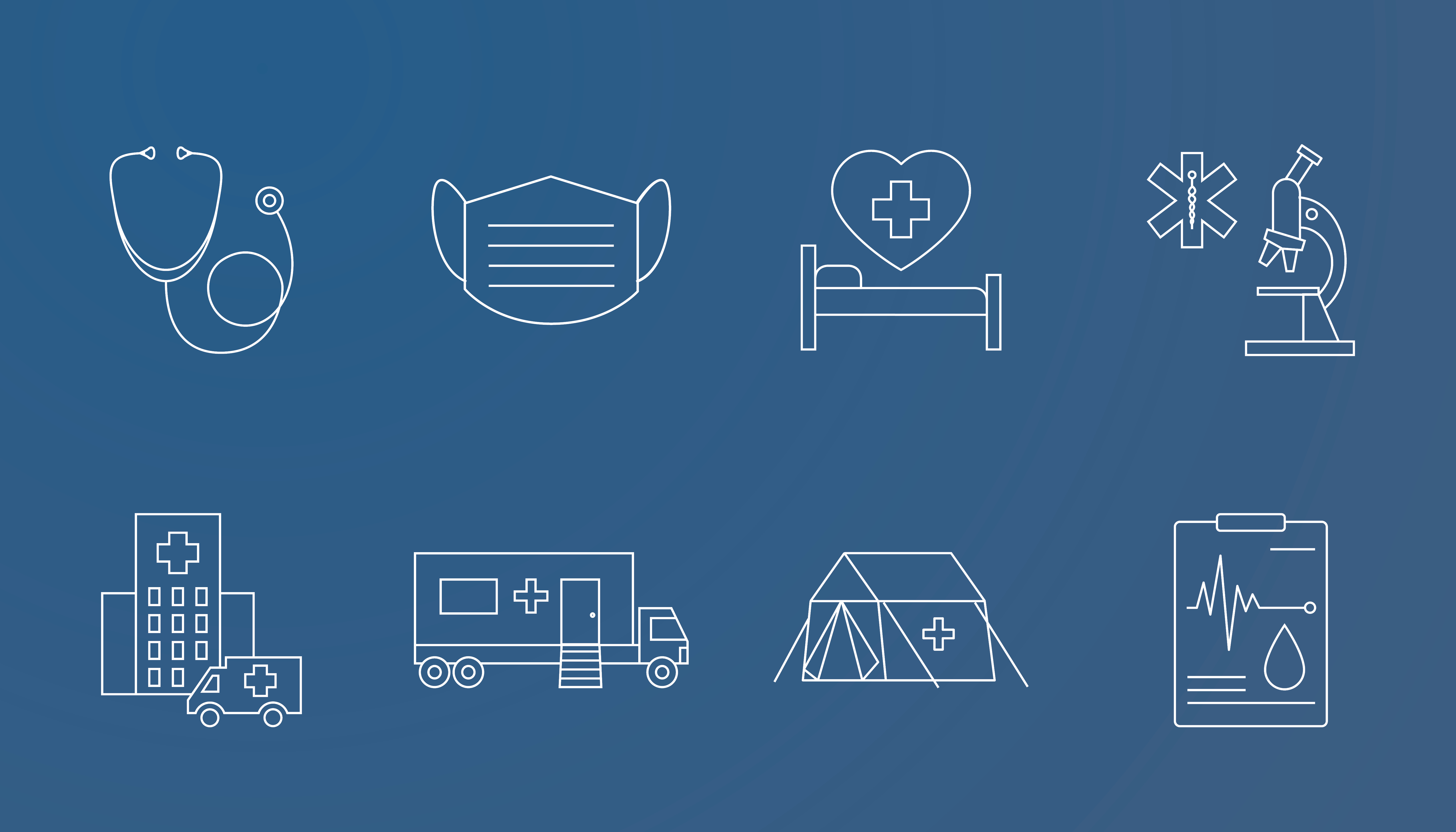 A variety of healthcare and construction-themed icons on a blue background