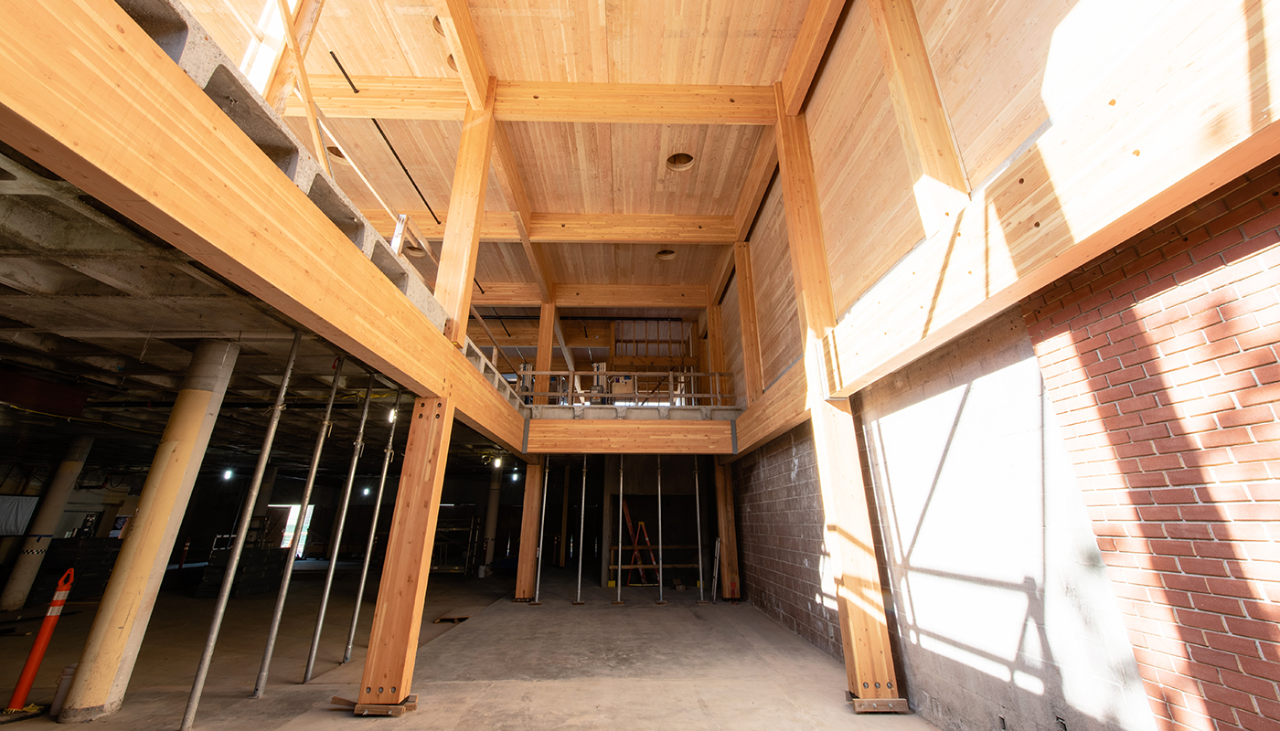 DPR's Sacramento office mid construction, showing mass timber walls.