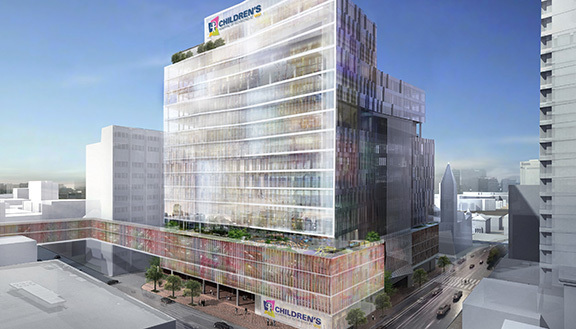 A rendering of the new VCU children's hospital.