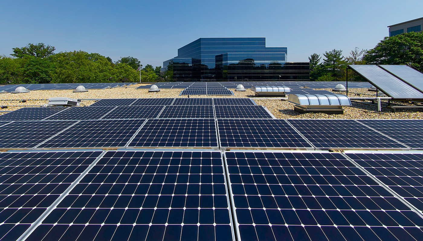 PV panels atop DPR's office in Reston, Virginia