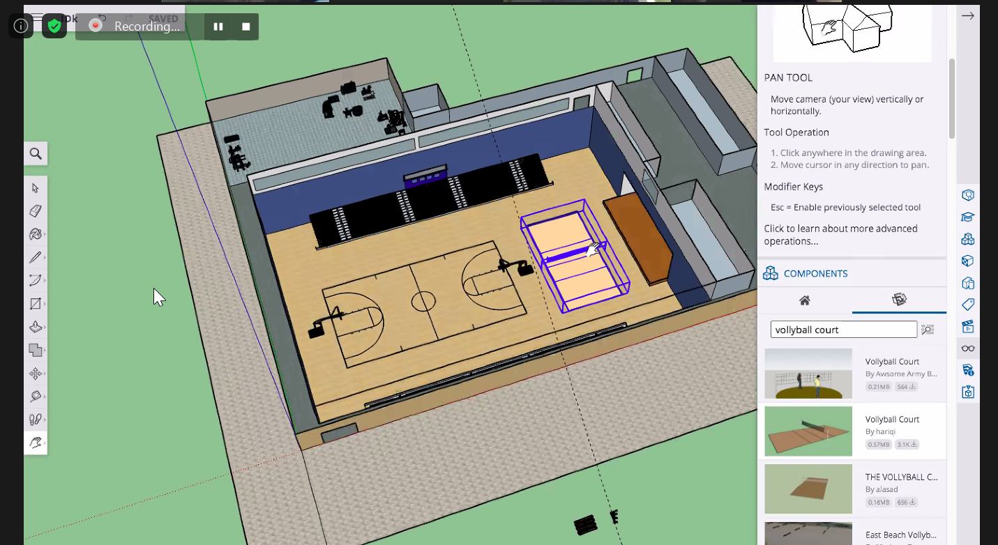 Screenshot of DPR's SketchUp training session teaching students how to build 3D models using SketchUp.