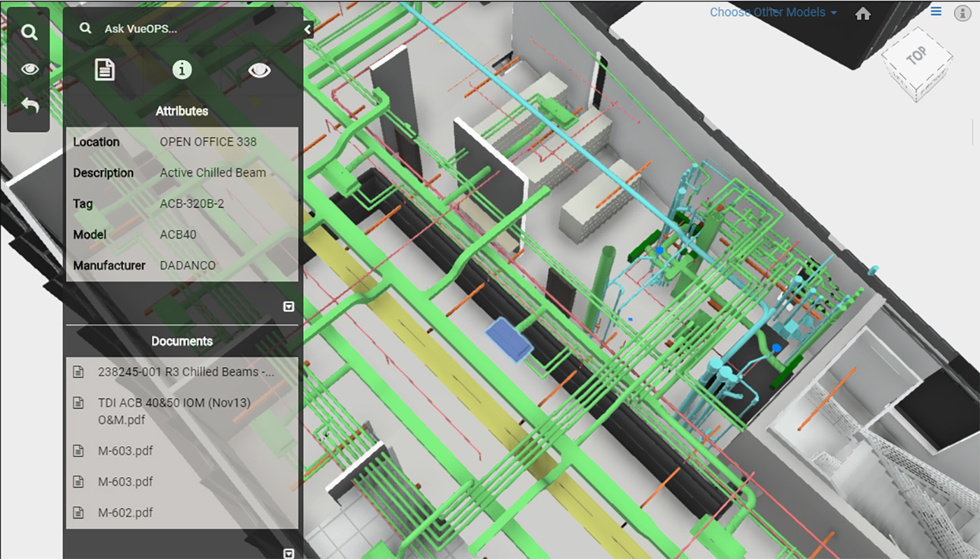 A screenshot of the VueOps platform showing building elements digitally.