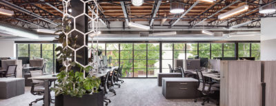 DPR's Sacramento office with spaced-out workstations and daylighting.