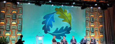 The stage setup for Greenbuild plenary sessions.