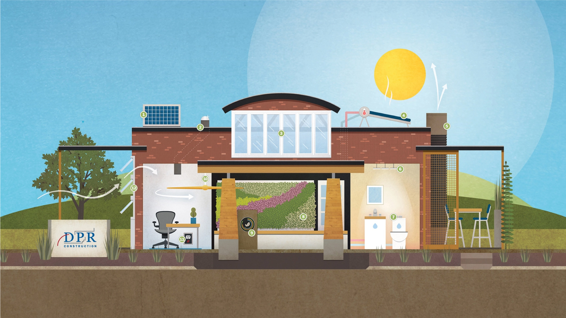 Illustrated collection of building elements used in the Path to Net-Zero Energy