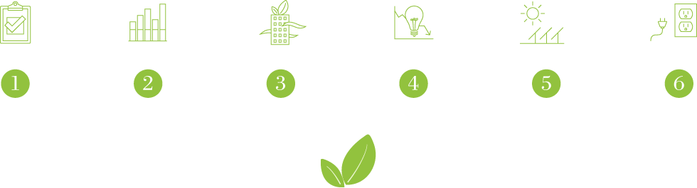 6 green strategies icons