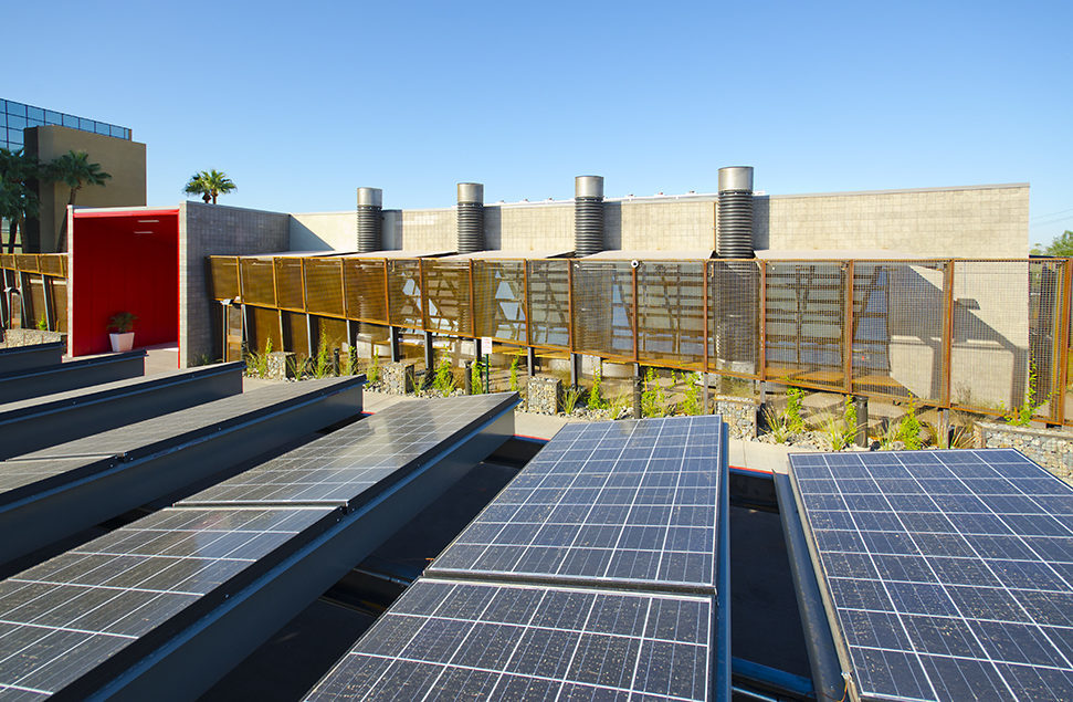 Exterior of DPR Phoenix office and parking lot solar panels