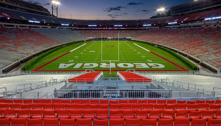 View of the University of Georgia's Sanford Stadium from the west end zone.