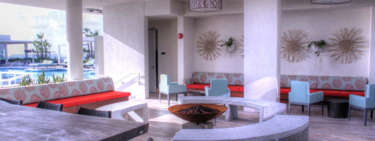 Roof deck seating area and fire pit