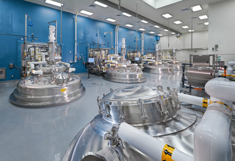 Fermenter room tanks at the Genentech CCP 2 manufacturing facility.