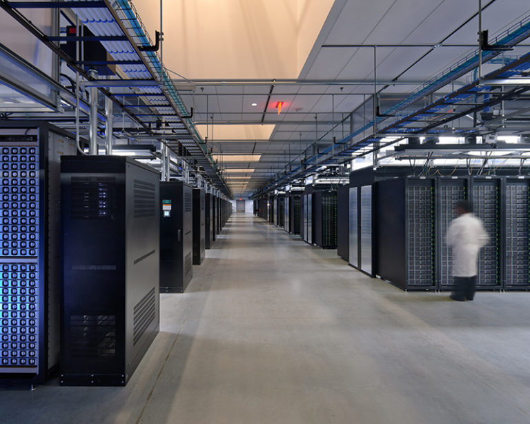 Interior of a data center room.