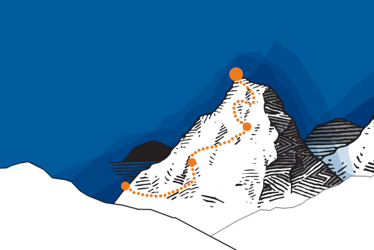 Stylized illustration of DPR's mountain with dots representing big decades starting.