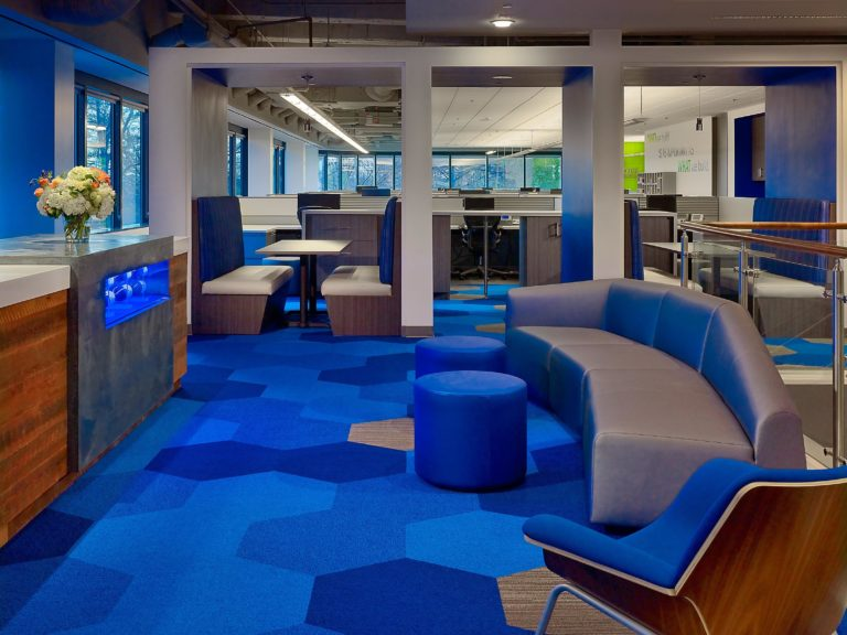 Office interior with bold blue carpets and lounge furniture.