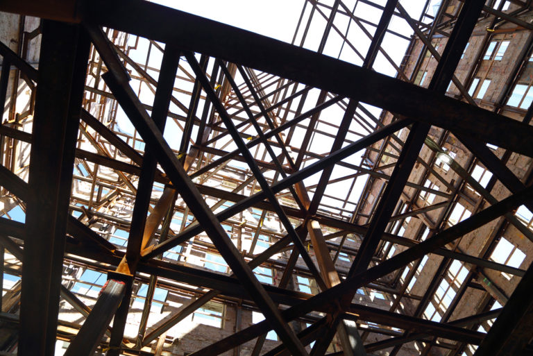 steel beams on construction site