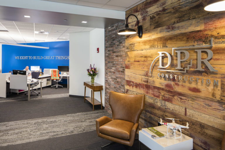 Wood wall and entry interior at DPR's Boston office.