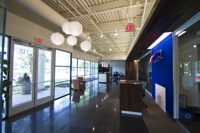 Lobby interior at DPR's Raleigh-Durham office.