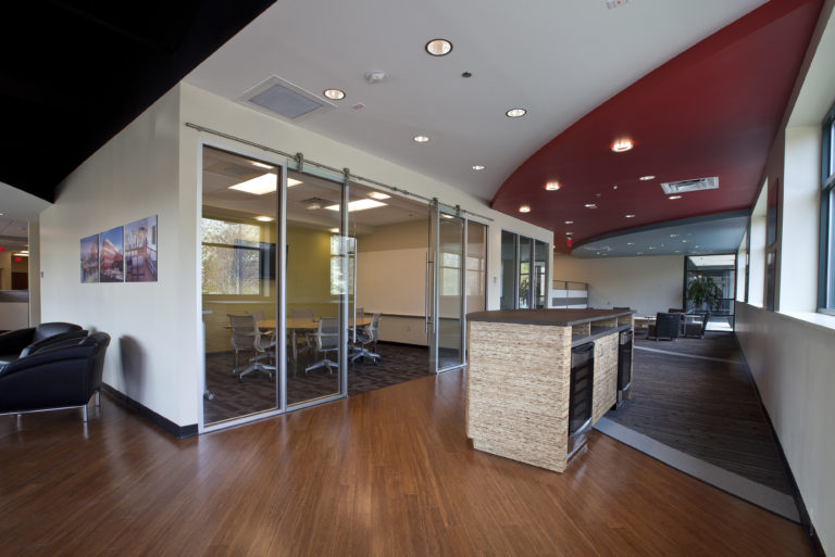 Interior meeting room and common area at DPR's Richmond office.