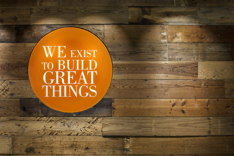 Dallas We Exist to Build Great Things Reclaimed Wood