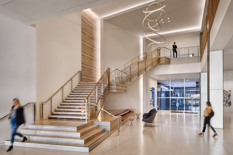 Lakeside interior lobby with stairs