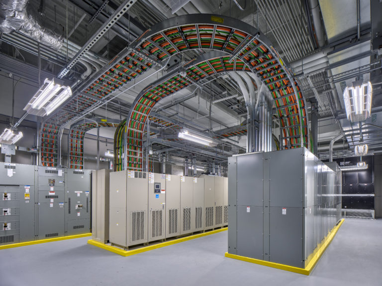 Data center interior with cabling.
