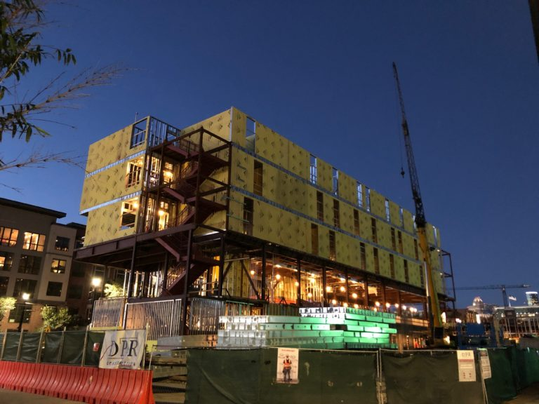 Night time photo of building construction