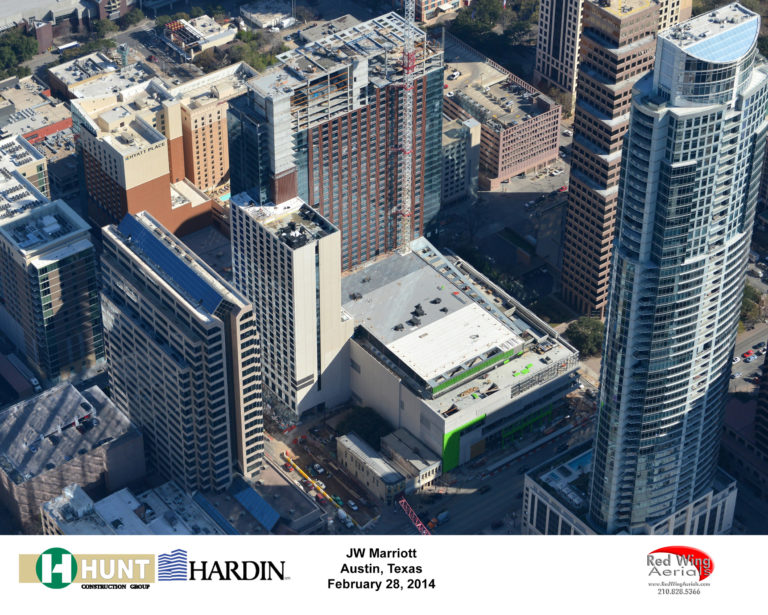 arial photo of hotel construction