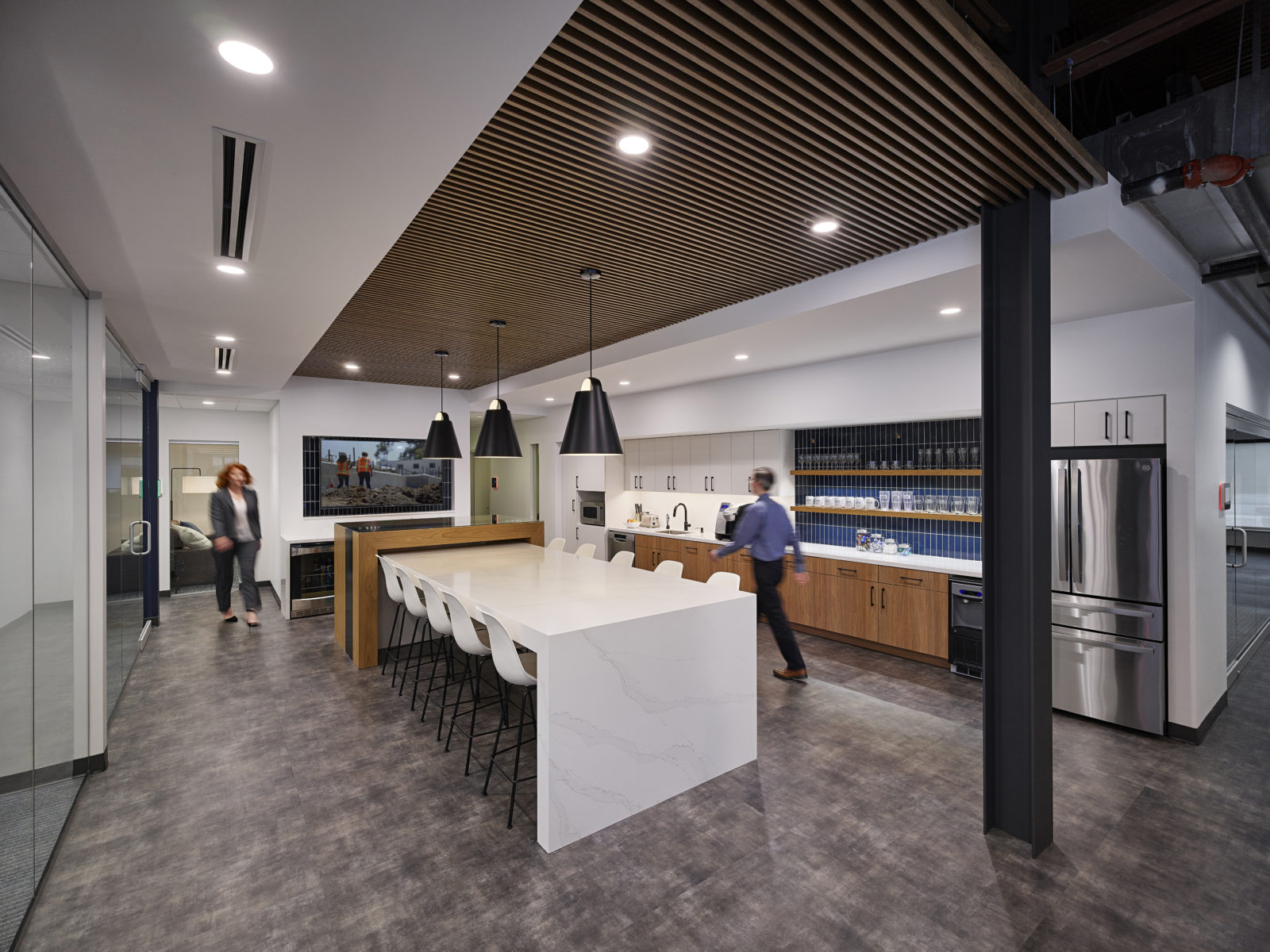 A modern kitchen interior at DPR's Baltimore office.