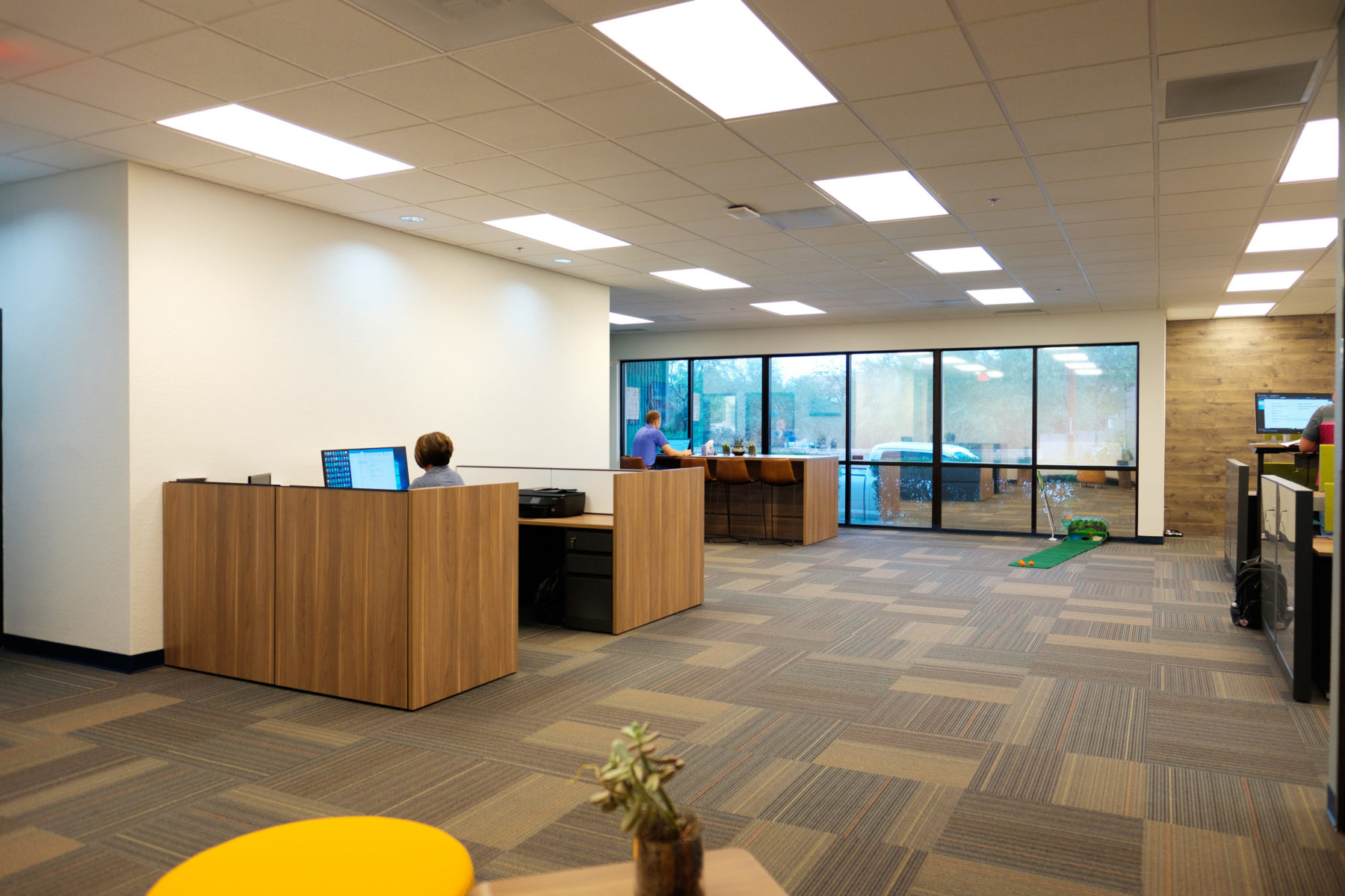 Office reception desk and open entry interior at DPR Tucson.