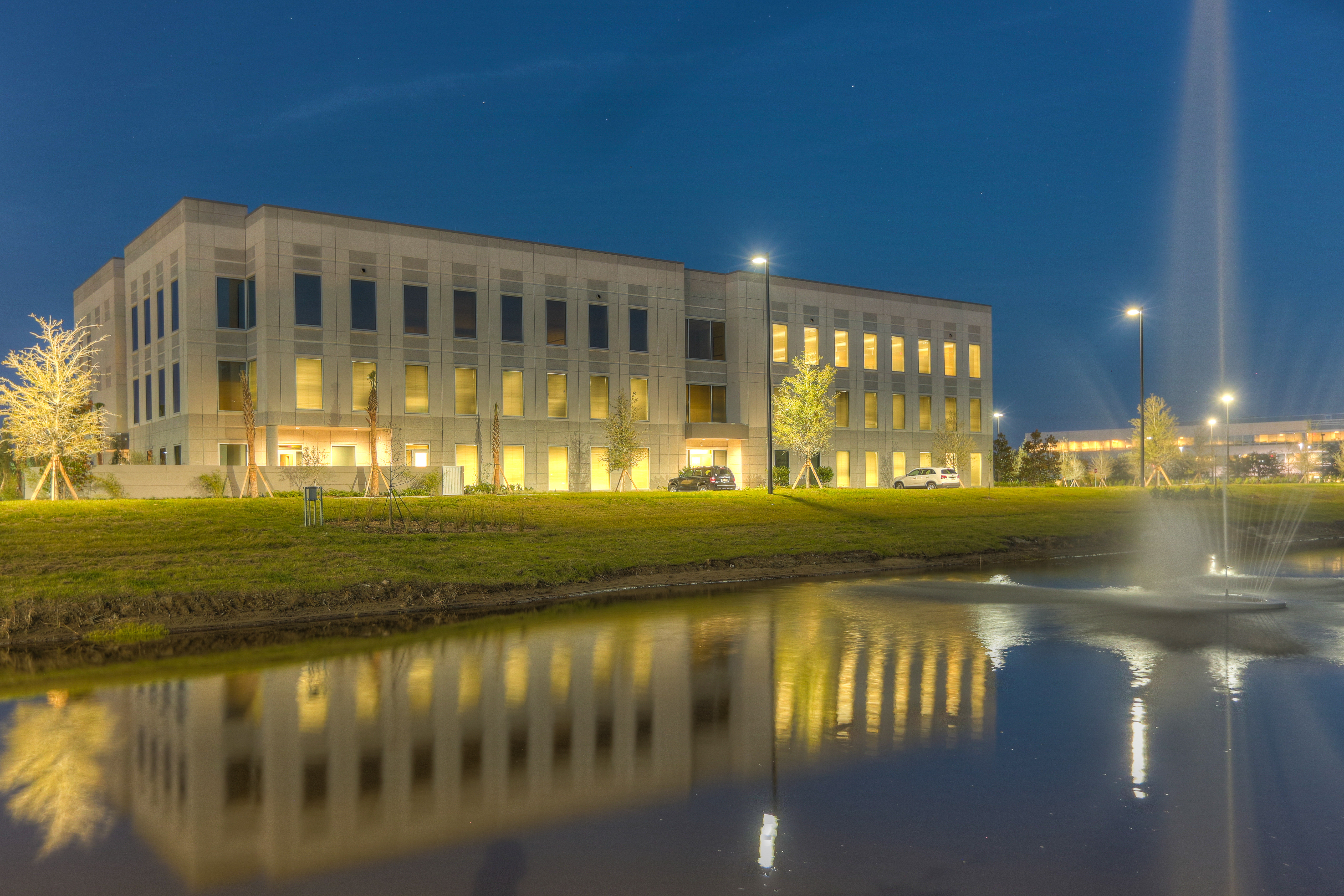 exterior shot of building in the evening