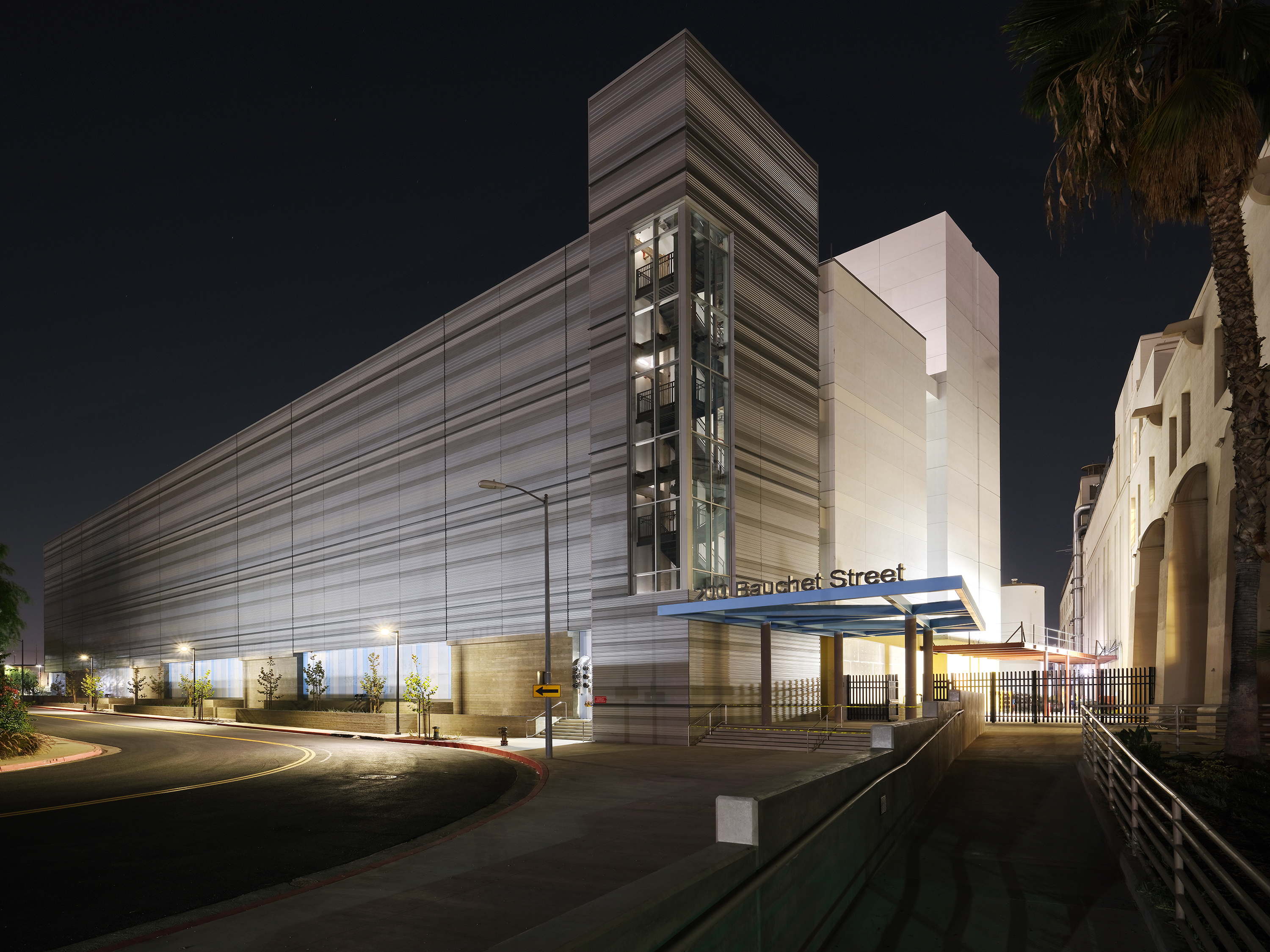 Exterior building and entrance at night