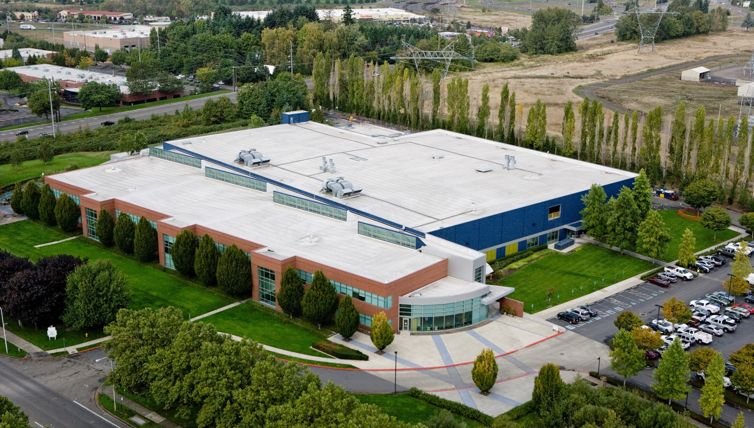 Aerial view of data center.