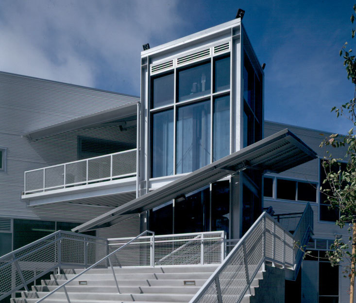 exterior entrance with stairwell