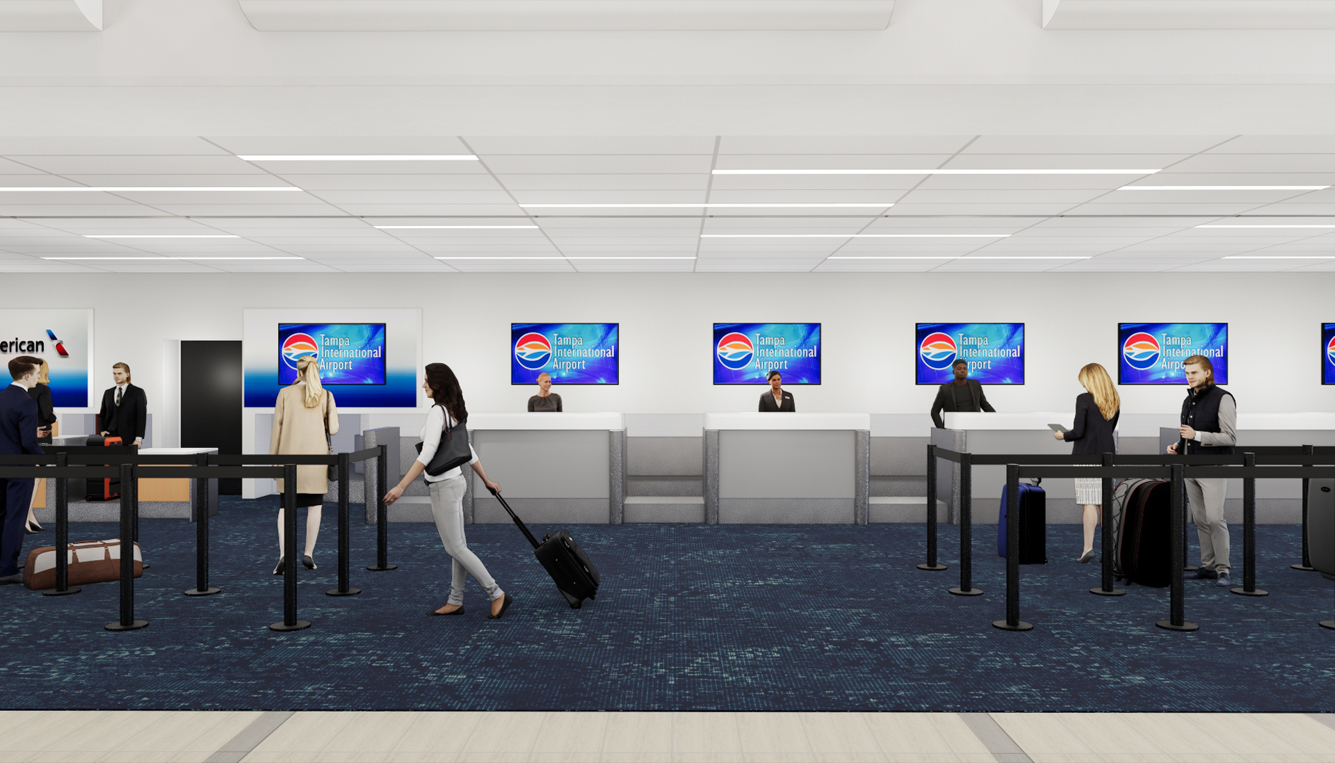 Render of ticket area at Tampa International Airport