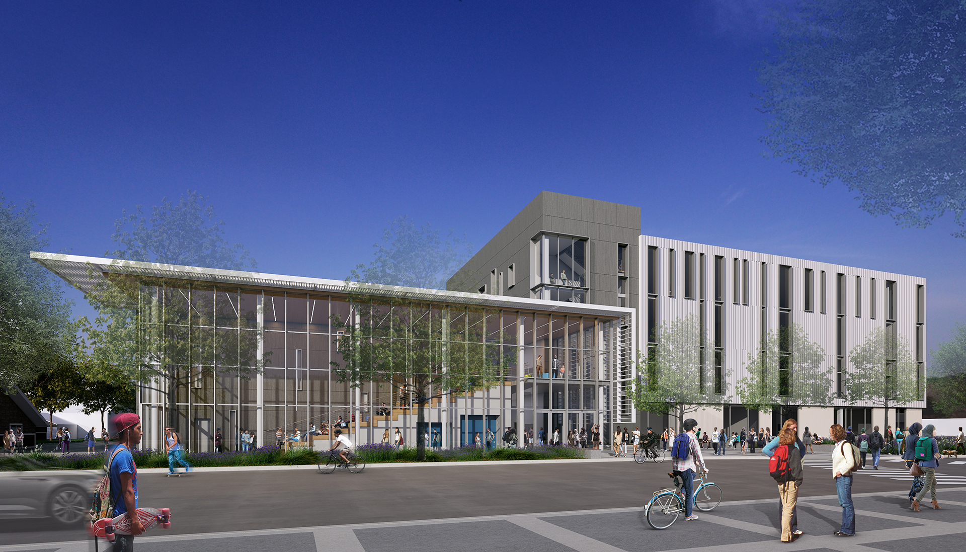 Rendering of exterior building with large glass atrium