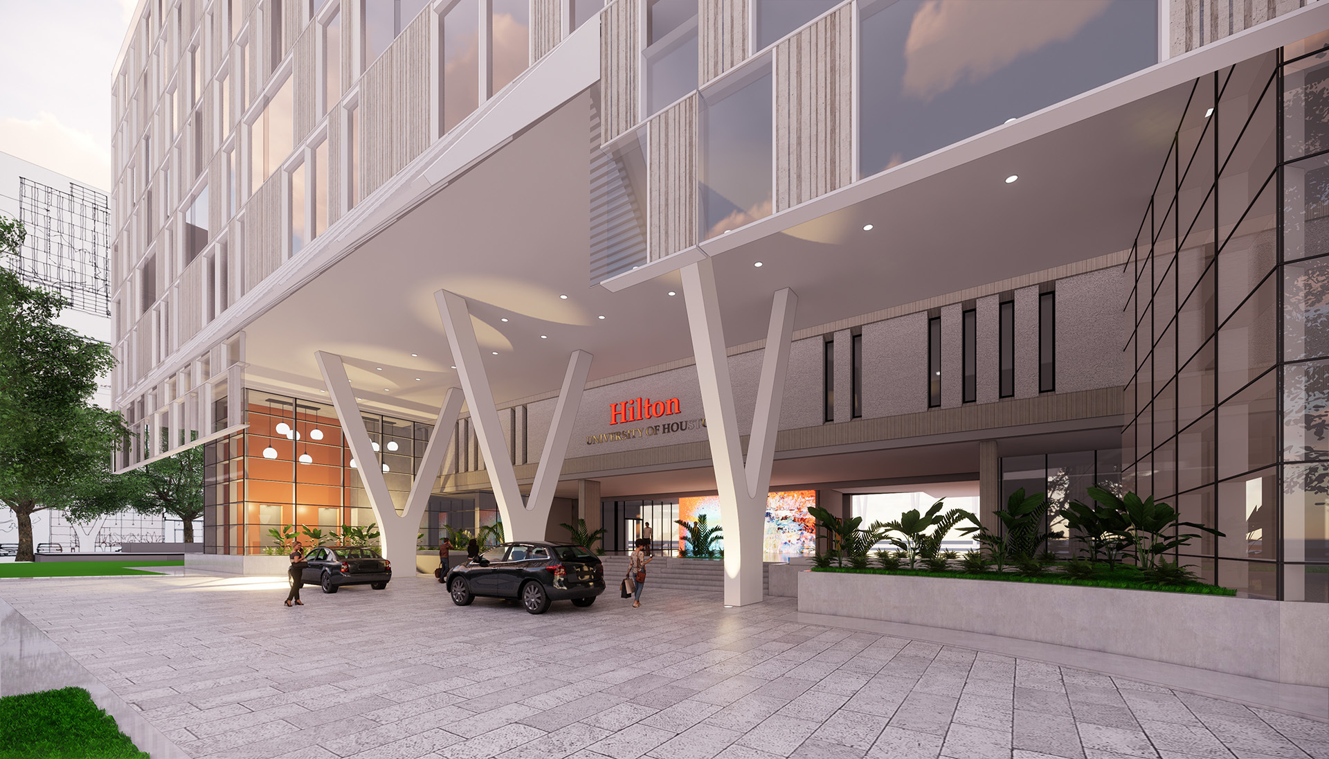 Rendering of hotel drive-thru area and parking area