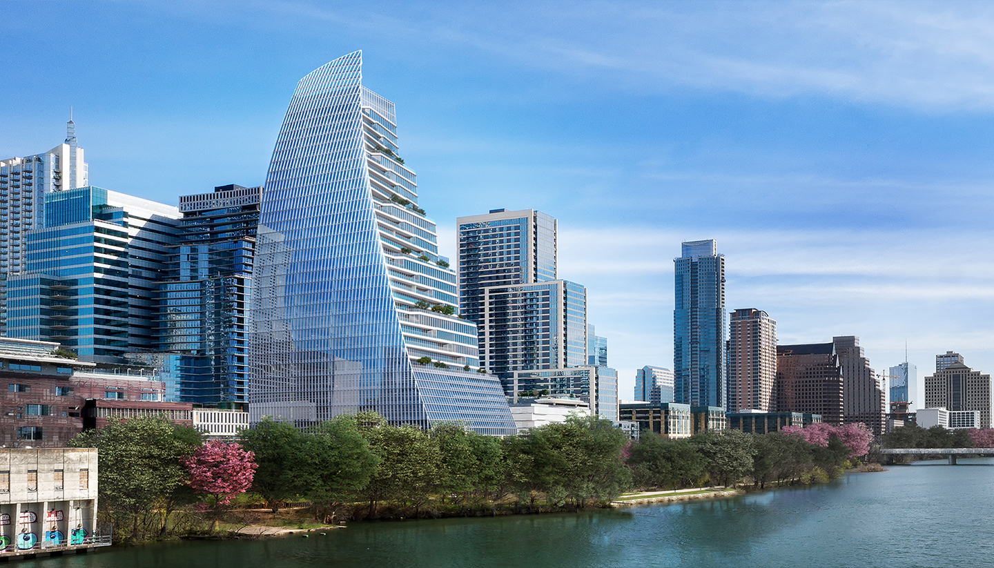 Exterior render view of Block 185 with Austin skyline from the water.