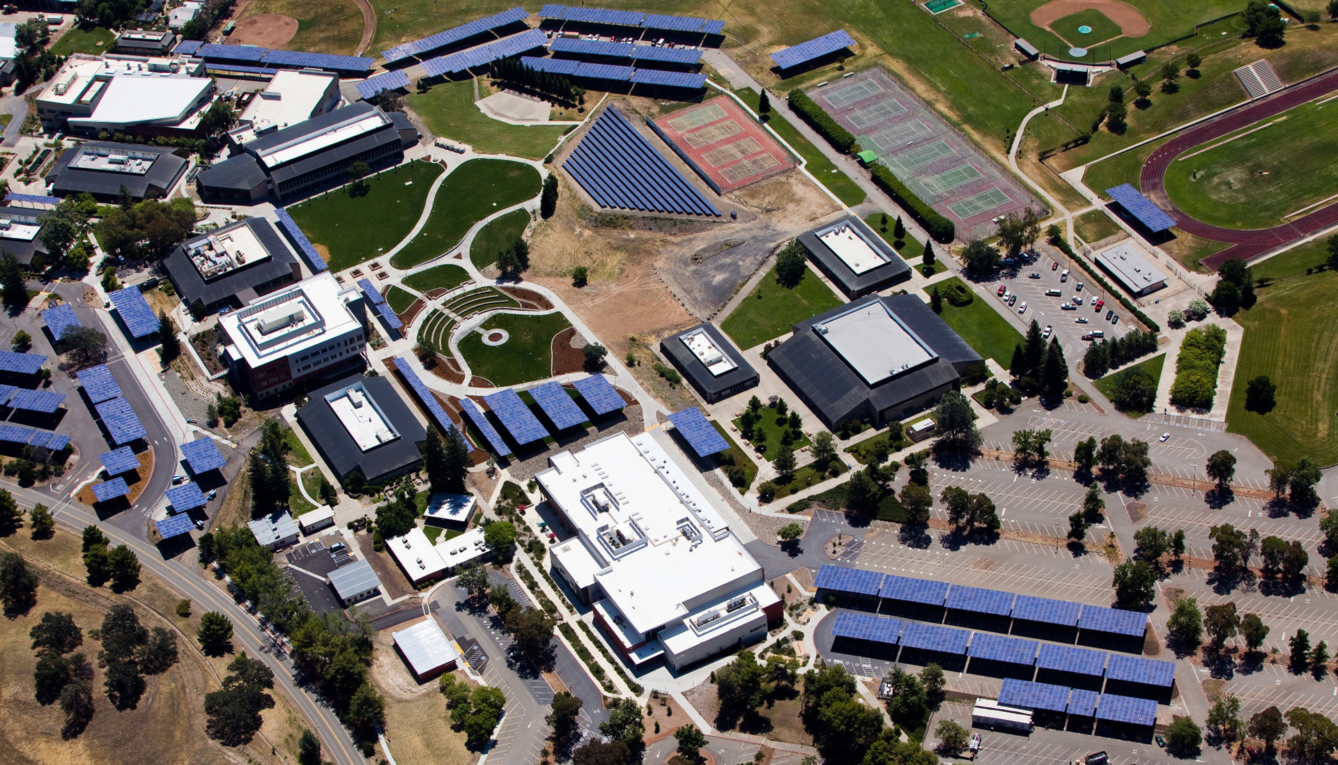 birds-eye-view of solar panel project