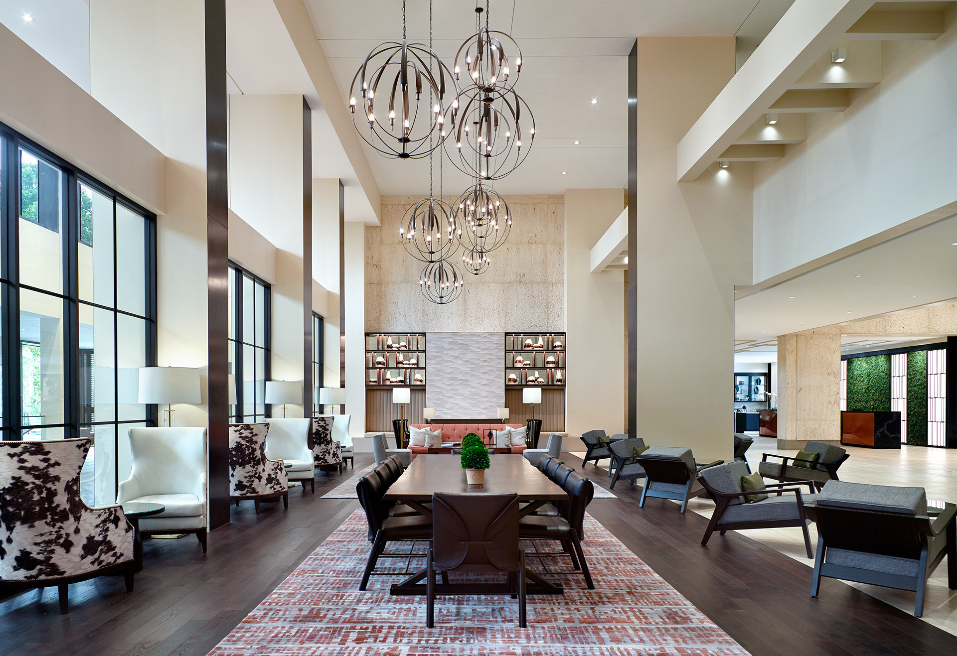 lobby and library with chairs and tables