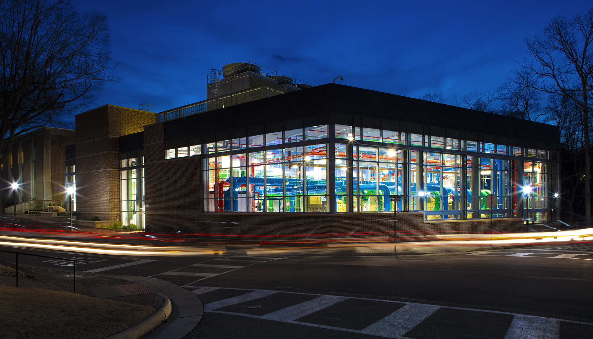 exterior at night with lights shining from inside