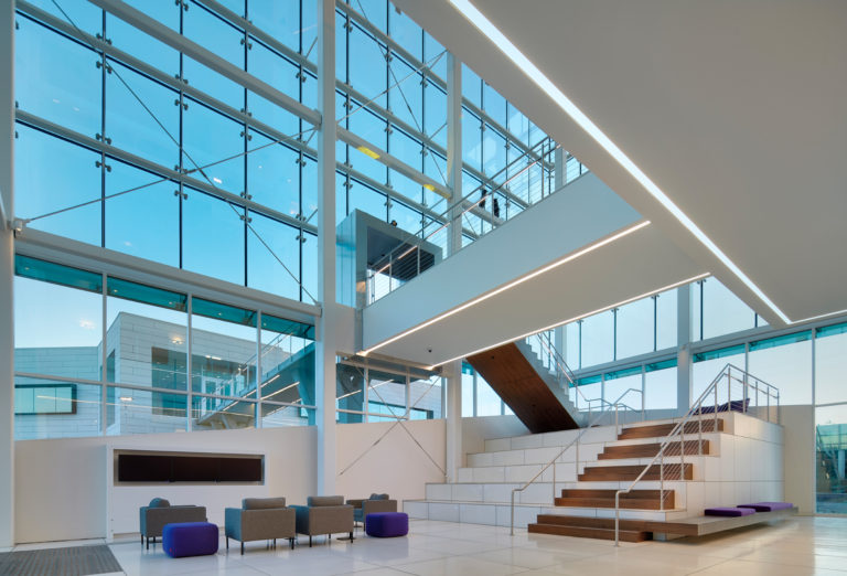 Structural glass for lobby and reception area.