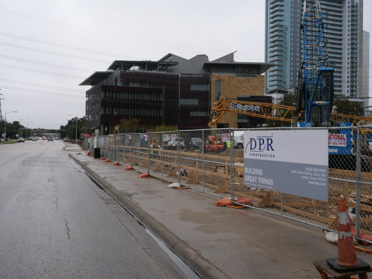 View of construction site from street