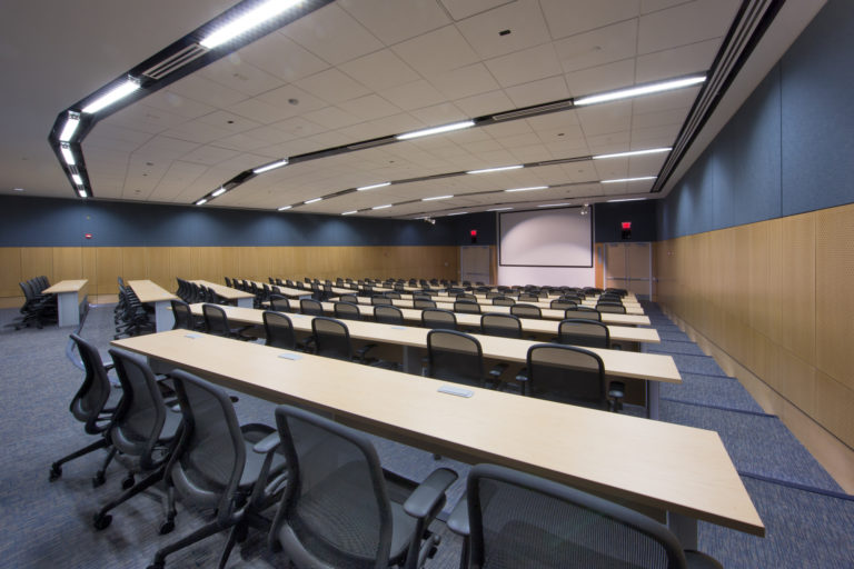 Interior of a lecture hall, classroom.