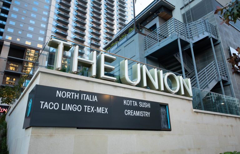 The Union signage with business names.